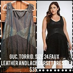 Sexy, Torrid, size 24 faux leather/lace dress.